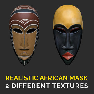 3D realistic african mask model