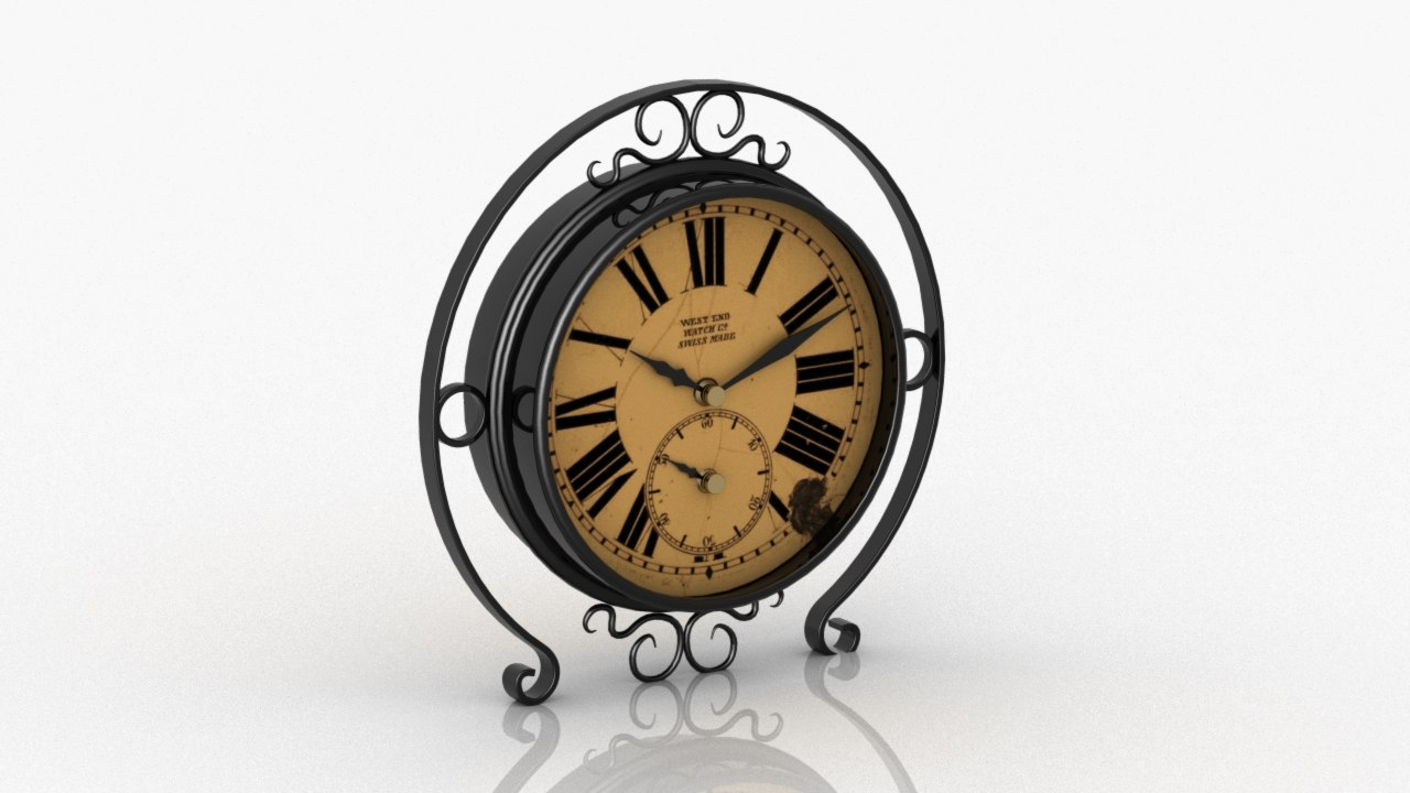 old antique clock 3D model