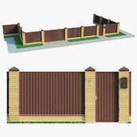 fence brick 3D
