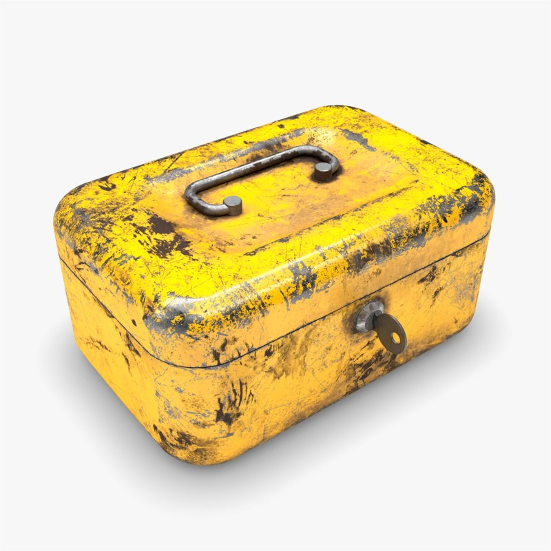 yellow cash money box 3D