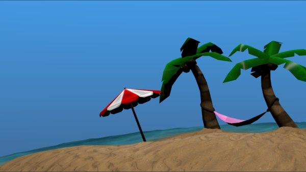 3D cartoon beach model