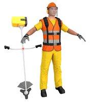 3D road worker model