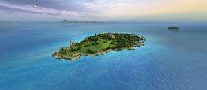 3D island cottage