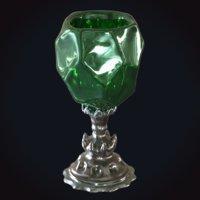 3D model medieval goblet 6 crystal
