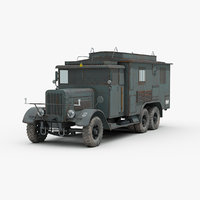 3D model ww2 german kfz72 military truck