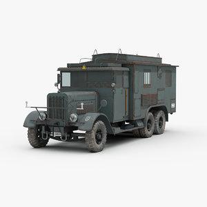 3D model ww2 german kfz72 military truck