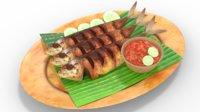 3D food fried fish