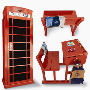 cupboard desk 3D model