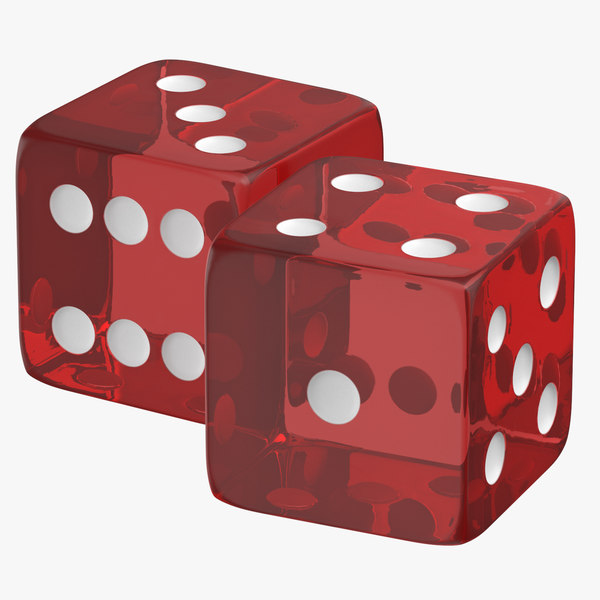 red transparent dice 01 3D model