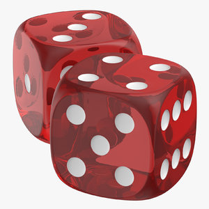 3D red transparent dice 02 model