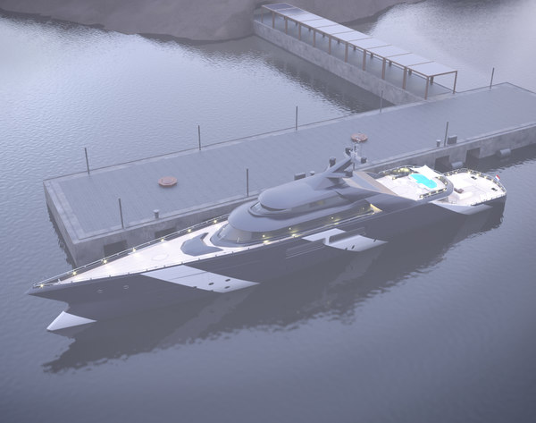 mega yacht day night 3D model