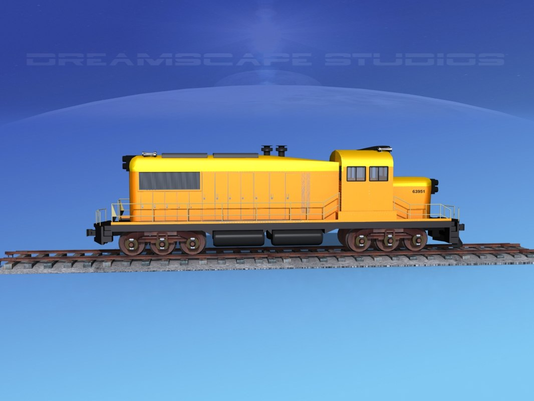 3D diesel train locomotive