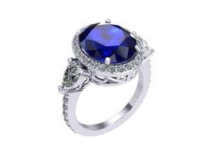 sapphire ring 3D