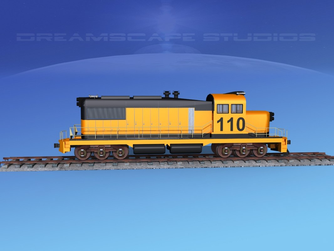 3D model diesel train locomotive