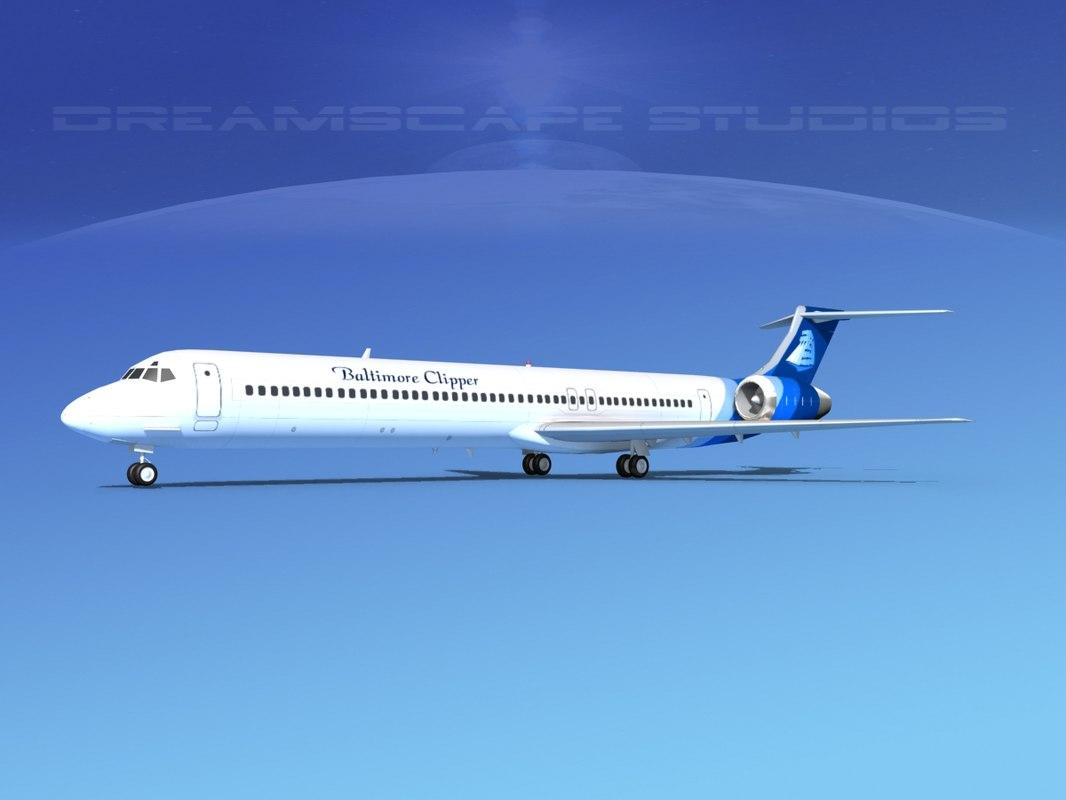 3D md-83 aircraft passengers