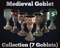3D medieval goblet chalice model