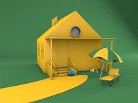 3D house cartoon