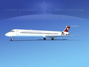 3D md-83 aircraft passengers model