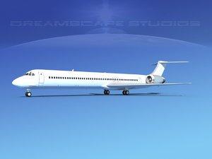 3D model md-83 aircraft passengers