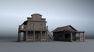 3D western house 04 village model