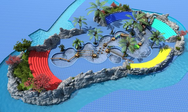 dinosaur water theme park 3D model