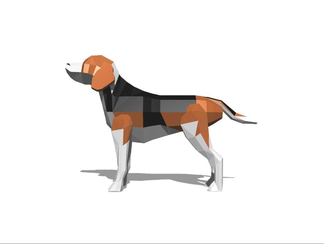 low-poly beagle 3D model