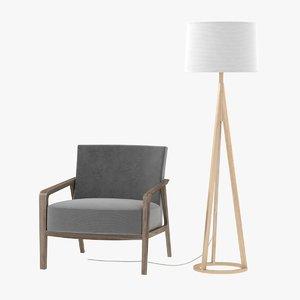 3D lamp chair nobl armchair model