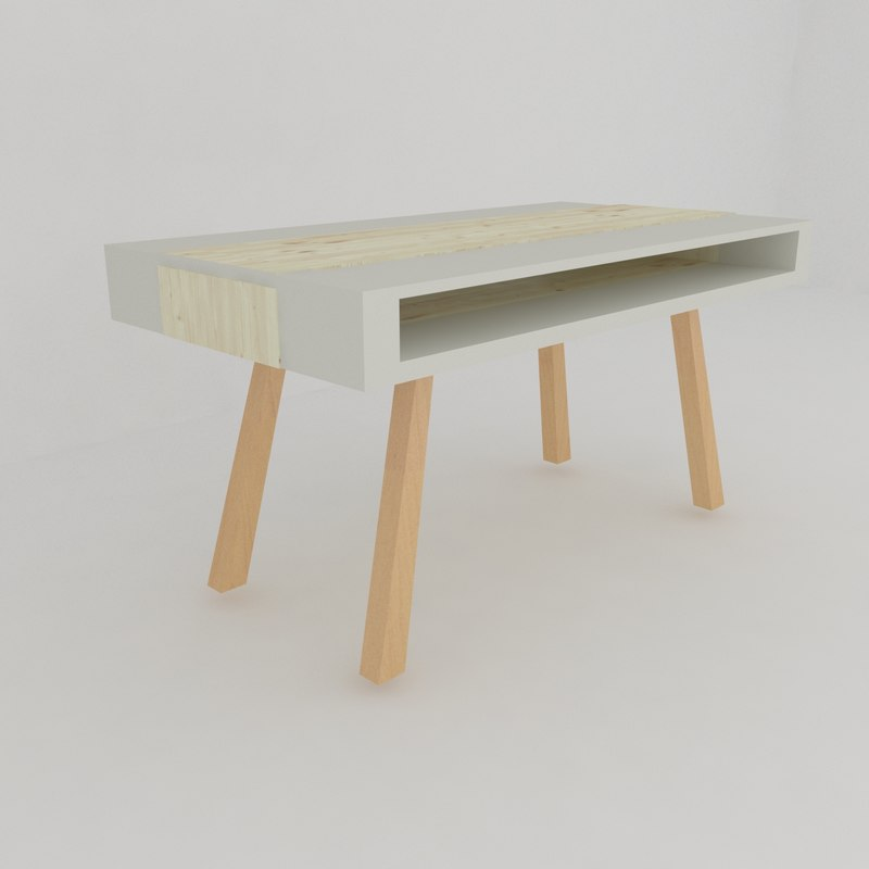 scandinavian style dining table 3D