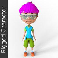 cartoon boy rigged character model