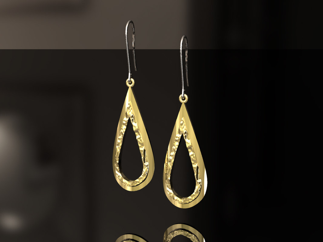 3D model teardrop earrings drop
