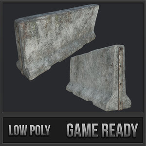 3D large concrete barricade