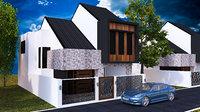 3D exterior modern home facade