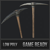 3D old pickaxe pbr model