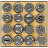 3D set screws heads model