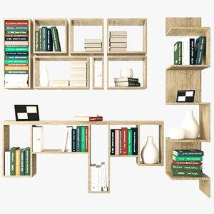 bookshelves books 3D