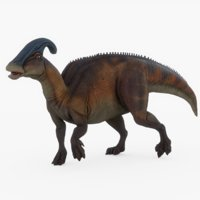 3D model parasaurolophus rigged