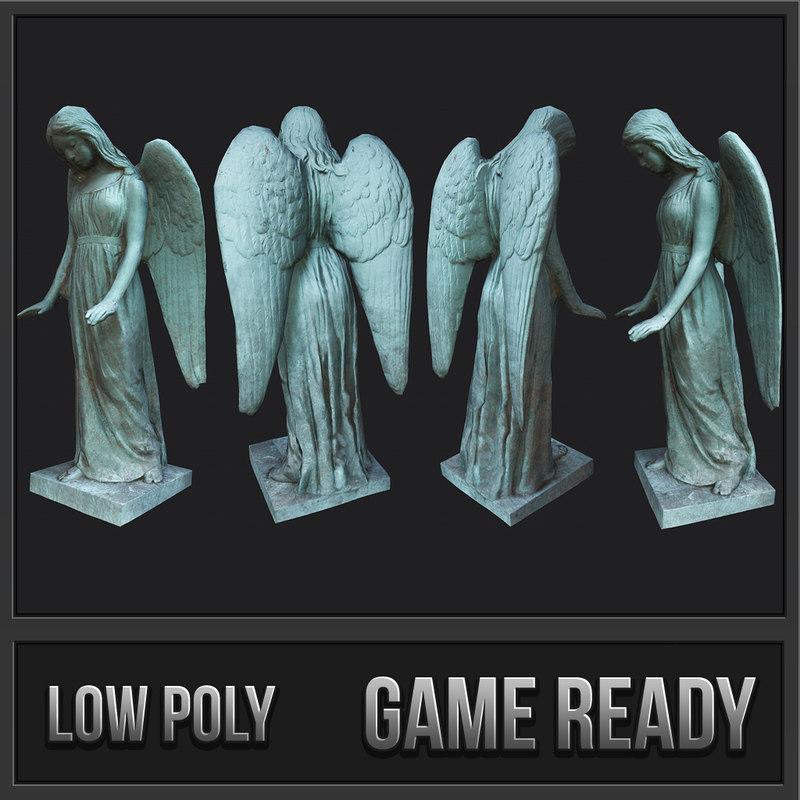 woman angel statue - 3D model
