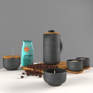 coffee table set scandinavian 3D model