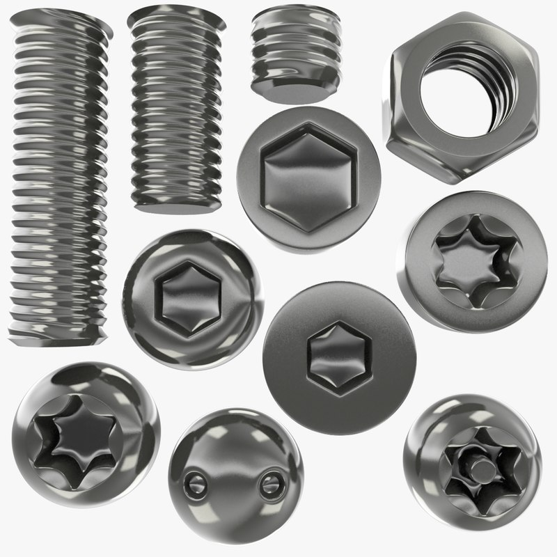 3D set screws bolts