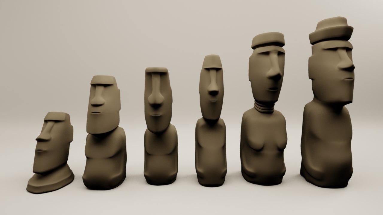 moai chess figures 3D