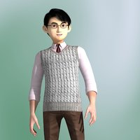 3D model rigged cartoon guy