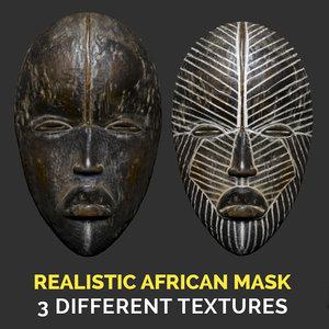 realistic african dan mask 3D model