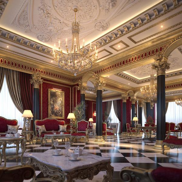 living dining room scene 3D model