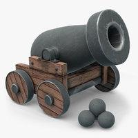 3D cartoon cannon model