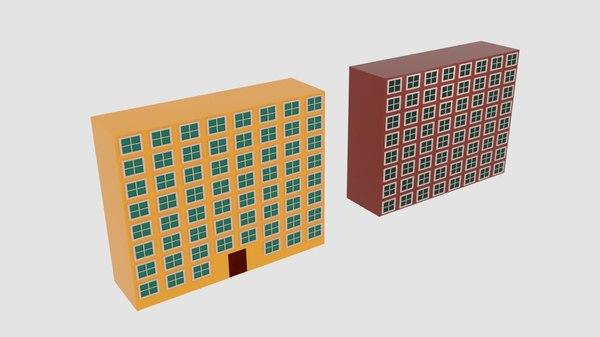 3D building square rectangle