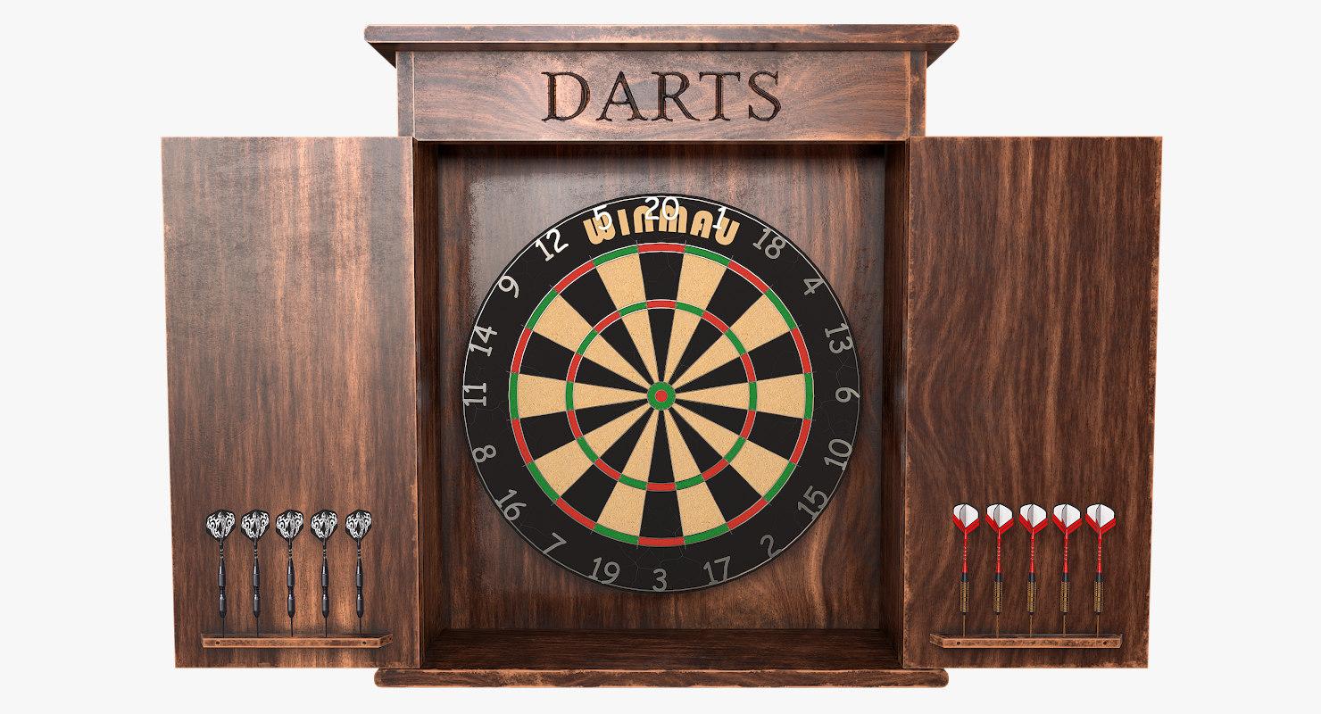 Charmant 3D Model Dartboard Cabinet