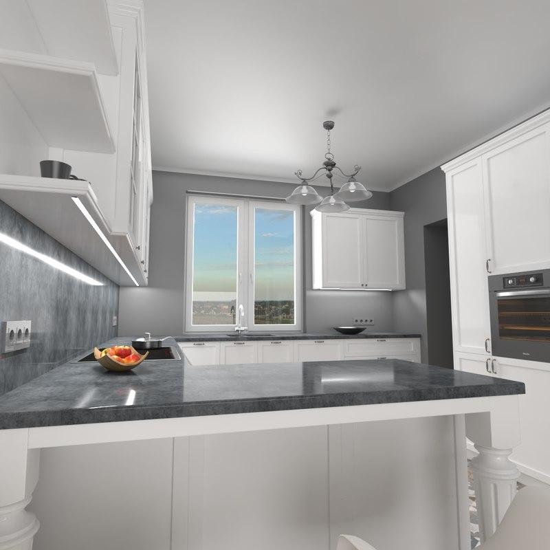 home kitchen interior 3D model