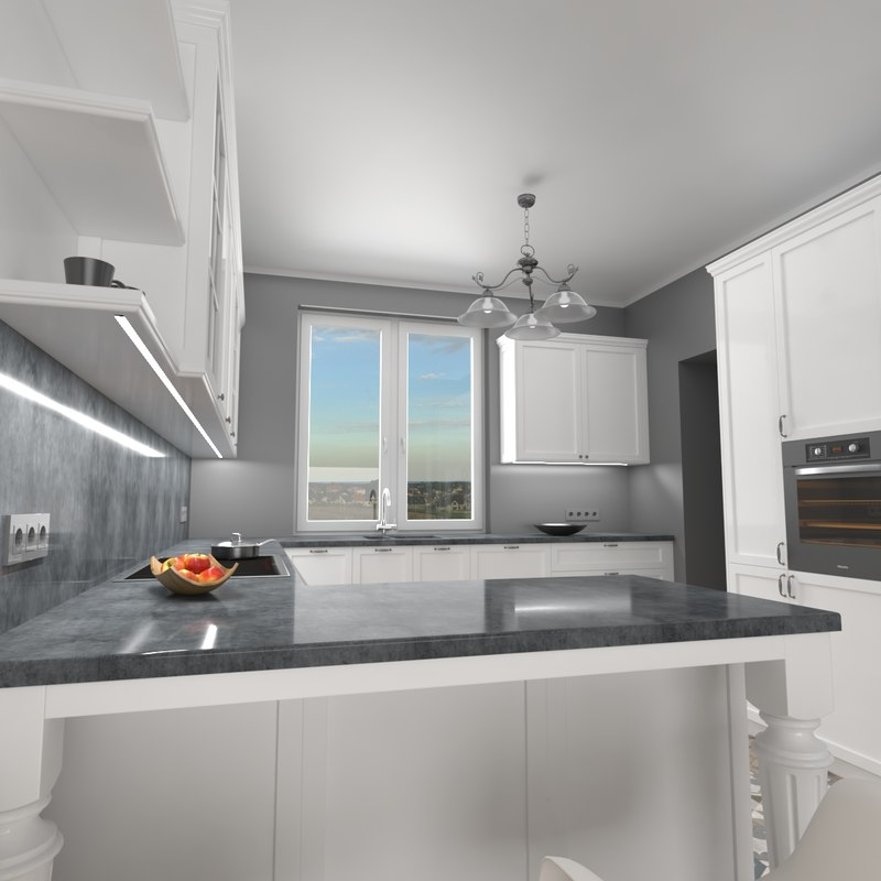 home kitchen interior 3D