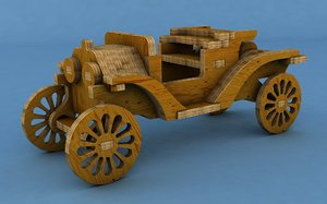 wooden retro car model