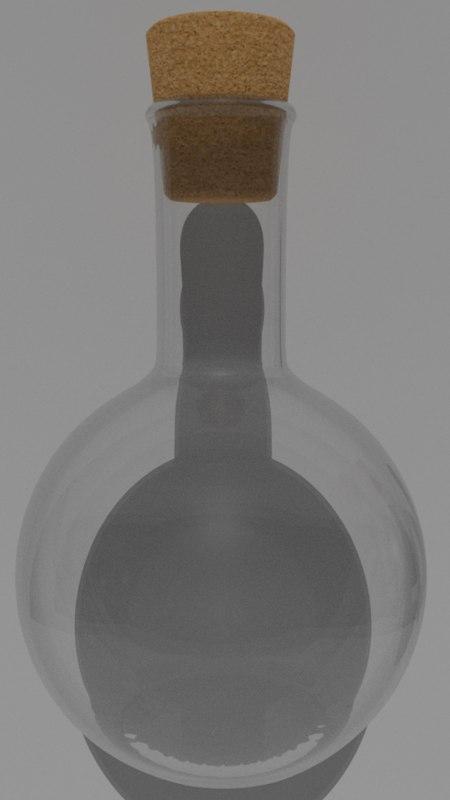 3D model pbr flat-bottomed flask